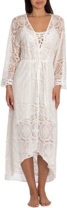 Jonquil Flying Voile Lace Long Wrap Robe