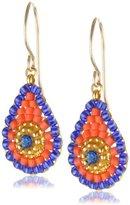 Miguel Ases Tangerine and Blue Miyuki Mini Drop Earrings