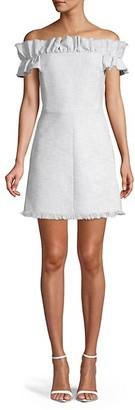 Rebecca Taylor Fringed Off-The-Shoulder Dress
