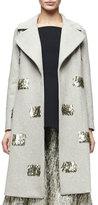 Lela Rose Metallic Fringe-Embellished Long Coat, Taupe/Gold