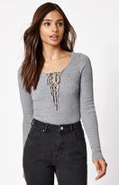 KENDALL + KYLIE Kendall & Kylie Long Sleeve Lace-Up Sweater Top