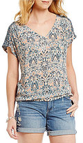 Lucky Brand V-Neck Printed Short Sleeve Woven Peasant Top