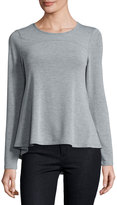 Neiman Marcus Round-Neck Long-Sleeve Swing Top, Light Gray