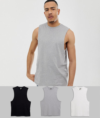 Asos Design DESIGN Tall 3 pack relaxed sleeveless t-shirt with crew neck and dropped armhole save-Multi