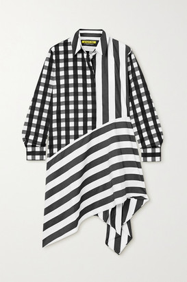 Marques Almeida Net Sustain Rem'ade Asymmetric Printed Cotton-poplin Shirt Dress