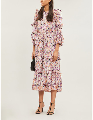 Alexis Isabel ruffled floral-print satin-crepe midi dress