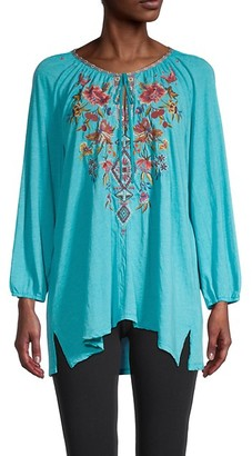 Johnny Was Kirpa Embroidered Peasant Blouse