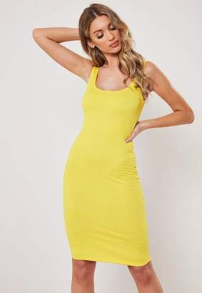 Missguided Yellow Ruched Bodycon Midi Dress
