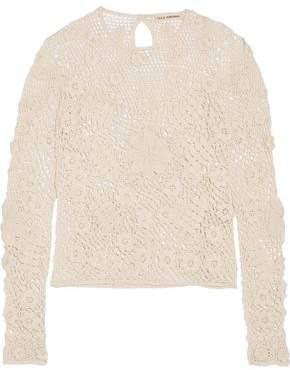 Ulla Johnson Lilia Floral-appliqued Crocheted Cotton Top
