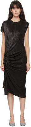 Paco Rabanne Black Shiny Ruched Dress