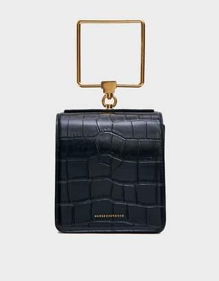 Marge Sherwood Women's Pump Handle Bag in Black Big Croc | Leather