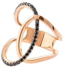 Lana Reckless Vol. 2 14K Rose Gold Illuminating Ring with Black Diamonds, Size 7