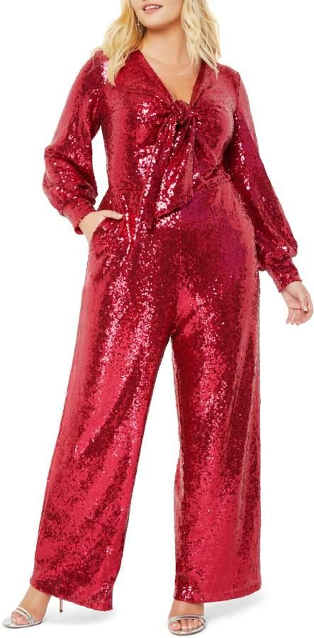 ELOQUII Sequin Tie Front Long Sleeve Jumpsuit