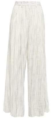 Sloane Anna Quan Striped Textured Linen-blend Wide-leg Pants