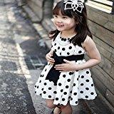 Hot Baby Dress! AMA(TM) Toddler Kids Girls Sleeveless Polka Dot Bowknot Sundress Summer Princess Party Dress (6-7Y, White)