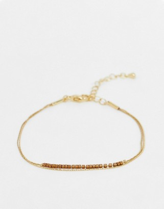 NY:LON thin chain bracelet in gold