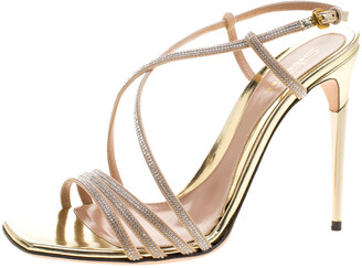 Sebastian Beige Crystal Embellished Suede Cross Strap Open Toe Sandals Size 39