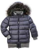 ADD Girls 7-14) Real Fur Trim Quilted Down Coat