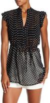 Lily White V-Neck Polka Dot Pleated Shirt