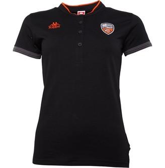 Kappa Womens FCL Lorient Polo Black/Orange Flame