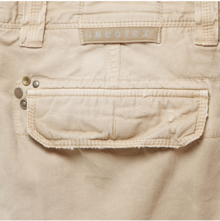 Incotex Cotton and Linen-Blend Slim-Fit Cargo Trousers