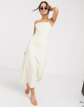 ASOS DESIGN maxi square neck dress with tie straps in natural stripe