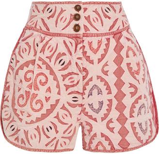 Ulla Johnson Martiza Paneled Cotton-gauze Shorts