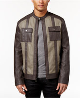 INC International Concepts Men's Colorblocked Faux-Leather Jacket, Created for Macy's