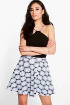 Boohoo Nava Daisy Jacquard Skater Skirt
