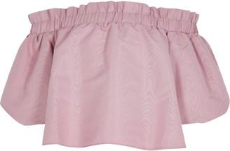 River Island Girls Pink puff sleeve taffetta bardot top