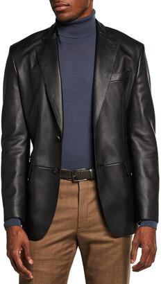 Brioni Men's Regular-Fit Leather Two-Button Blazer