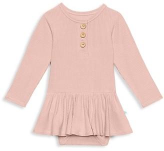 Posh Peanut Baby's & Little Girl's Sweet Pink Rib Long Sleeve Henley Twirl Skirt Bodysuit