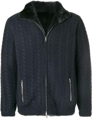 N.Peal fur lined cable cardigan