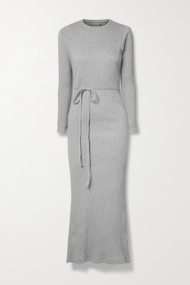 Base Range Brig Cutout Ribbed Organic Cotton-jersey Wrap Dress - Gray
