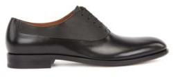 HUGO BOSS Italian-made leather Oxford shoes with embossed panel