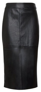 Dorothy Perkins Womens Dp Tall Black Faux Leather Midi Skirt, Black