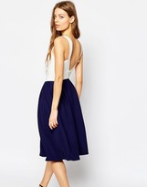 Asos Midi Dress with Low V Back in Contrast Fabric
