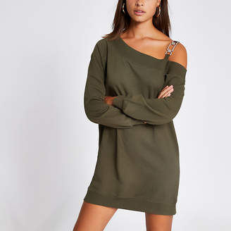 River Island Khaki one embellish shoulder sweatshirt dress