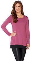 As Is LOGO by Lori Goldstein Long Sleeve Knit Top with Charmeuse Trim