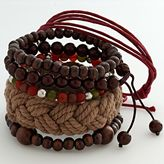Mudd® silver-tone beaded flex and woven bracelet set