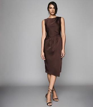 Reiss Julietta - Pleat Detailed Midi Dress in Chocolate