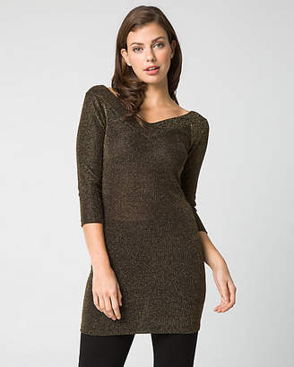 Le Château Lurex Knit V-Neck Tunic Top