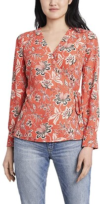 Vince Camuto Long Sleeve Antique Floral Toile Side Tie Wrap Blouse (Coral Blaze) Women's Clothing