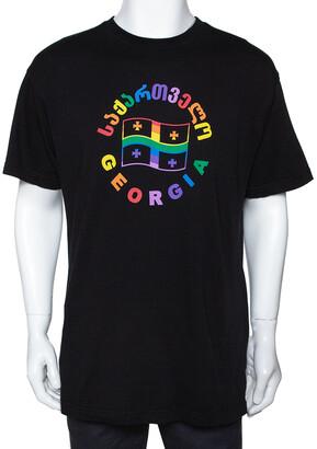 Vetements Black Cotton Rainbow Georgia Flag Print T Shirt S