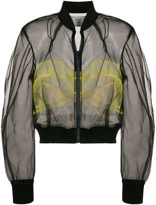 Quetsche Sheer Cropped Bomber Jacket