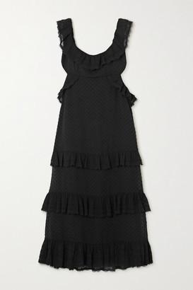 Zimmermann Ruffled Chiffon And Lace-trimmed Swiss-dot Crepe Midi Dress - Black