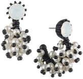 Marchesa Black-Tone White Stone & Imitation Pearl J-Hoop Earrings
