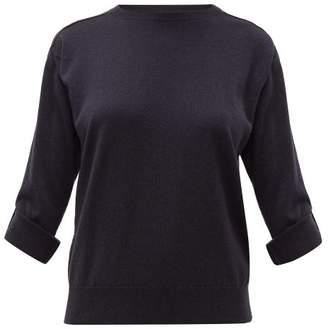 Brunello Cucinelli Grosgrain-applique Cashmere Sweater - Womens - Dark Blue