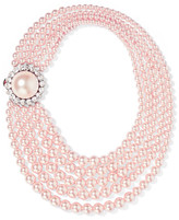 Miu Miu Faux Pearl And Crystal Necklace - Pastel pink