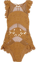 Zimmermann Good Times Ruffled Broderie Anglaise And Point D'esprit Swimsuit - Mustard